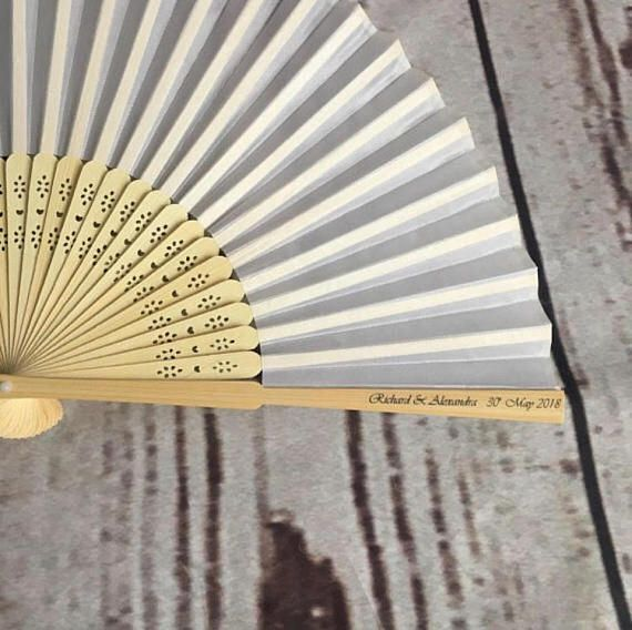 30 pack Personalised wedding favours; personalised wedding fan; personalised silk & wood hand fan for wedding favour; vintage wedding favour