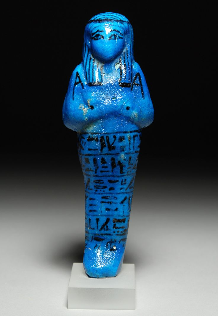 ancient egyptian blue faience ushabti figure of high priest of amen pinudjem ii - Faience Colore
