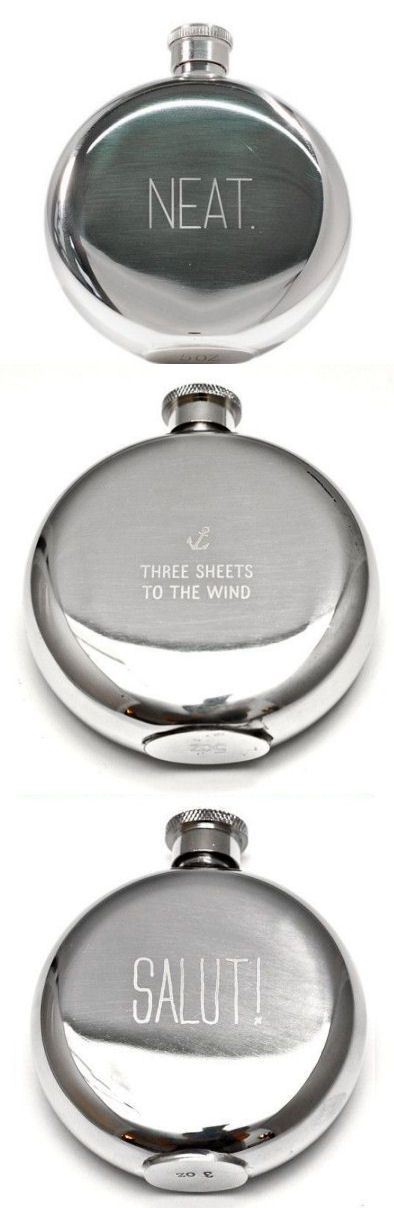 Stainless Steel Flasks // Great Gift Idea for the Man in Your Life! love the three sheets to the wind one! haha! people never have a clue what i'm talking about when i say that!