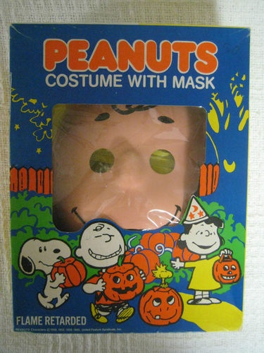 Vintage CHARLIE BROWN Peanuts Halloween Costume w/ Mask & Vinyl Suit in BOX | eBay