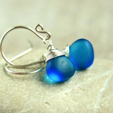 Øredobber - blå kvarts - sølv - fra Hildes, epla.no