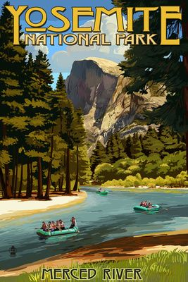 Merced River Rafting - Yosemite National Park, California - Lantern Press Poster
