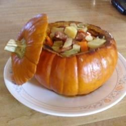 Use a hollowed-out pumpkin to cook and serve this casserole with its bonanza of vegetables, from carrots, celery, bell peppers, broccoli and more, to winter favorites such as rutabaga, parsnips, and cabbage seasoned with onion soup mix and savory kielbasa sausage. Mix and match the veggie assortment as you choose.