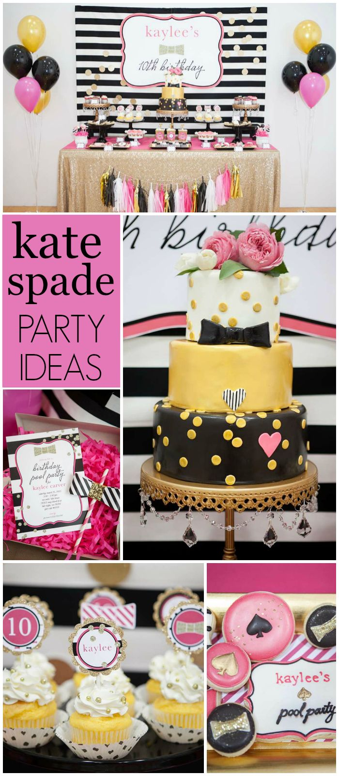 Such a fabulous Kate Spade inspired pool party! See more party ideas at CatchMyParty.com!