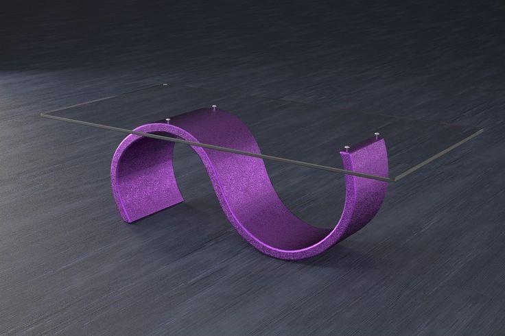 Articolo 416-17     Tavolino da salotto Crono - Finitura: viola.Misure: cm 110 x 65  - Altezza: cm 38 - Peso: Kg. 42 - Vetro: rettangolare -  temperato - extrawhite - filo lucido - spessore 1 cm
