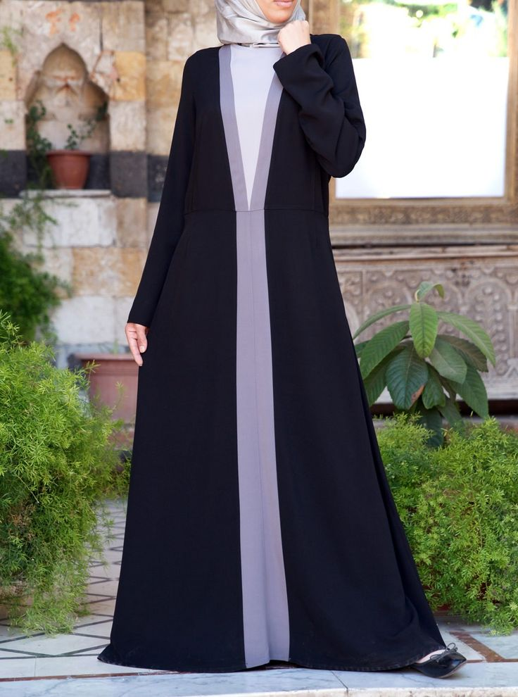 This faux robe is the fashion forward abaya that you have been looking for. Providing the appearance of a half open abaya over a white dress, this piece is actually an all-in-one and completely non-layered gown! So, if you don't like to wear layers but love the look, the Tri-Color Abaya is a stunning solution.