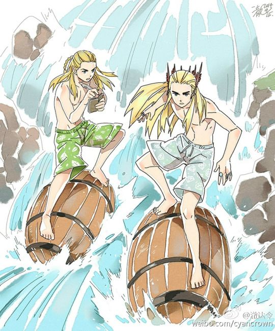 Hahahahaha, this is totally what Thranduil and Legolas do during summer vacations in Mirkwood... Barrel-surfing down the River! :D