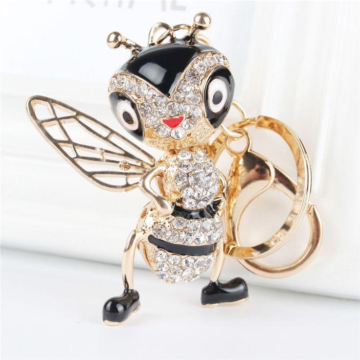 Güzel Arı Arı Kolye Charm Rhinestone Kristal Çanta çanta Anahtarlık Anahtarlık Aksesuarları Düğün Parti Hediye