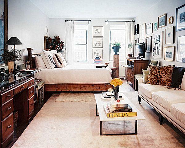 studio apartment living room decor | narrow coffee table, studio