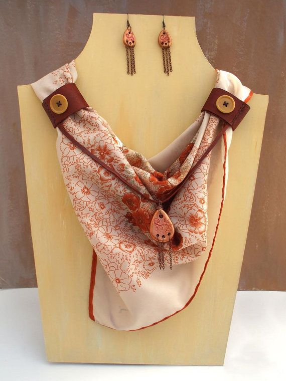 Brown floral scarf with air dry clay pendant, leather cuff, air dry clay earrings, button, leonardi vintage scarf with flowers