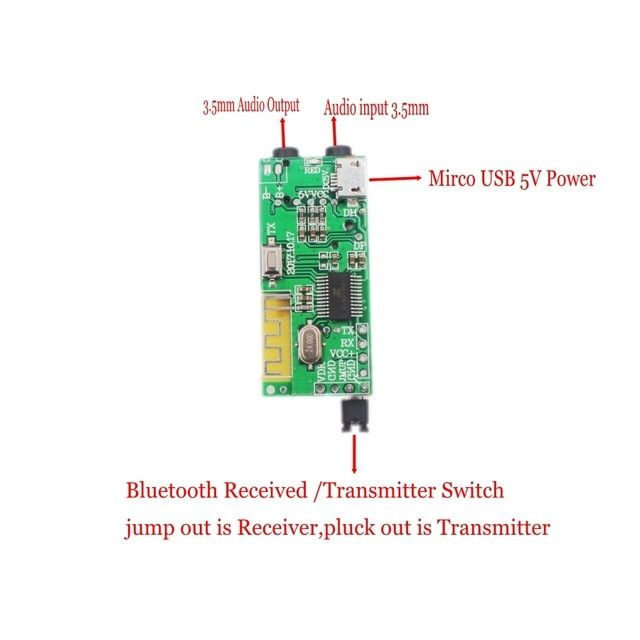 2in1 Wireless Bluetooth 4 2 Audio Receiver Transmitter Receptor 3 5mm Aux Tf Card Decoder For Headset Speaker Diy R Diy Speakers Transmitter Wireless Bluetooth