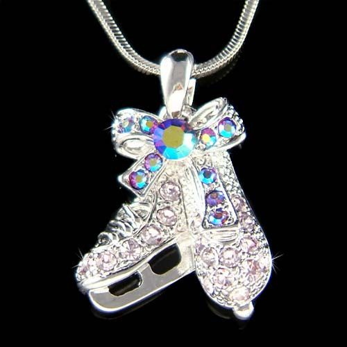 Ice Hockey Jewelry | Swarovski Crystal Purple Ice figure Skating Hockey Shoes Skate Pendant ...