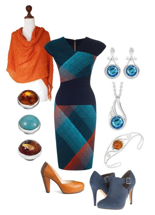 """""""Kameleon Jewelry Fall Blue & Orange"""" by fragrant on Polyvore featuring Michael Antonio, NOVICA, Roland Mouret and Dear Frances"""