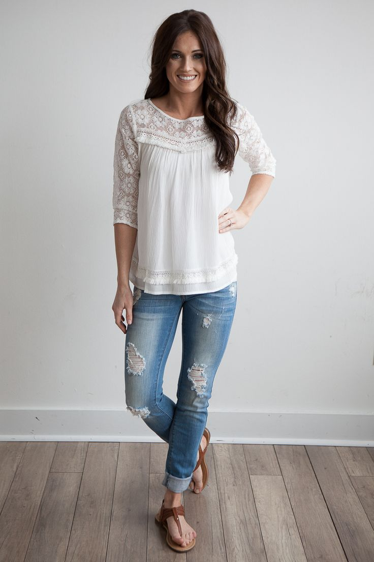 I don't like the distressed jeans but I love the top: the detail on the top and bottom are lovely.