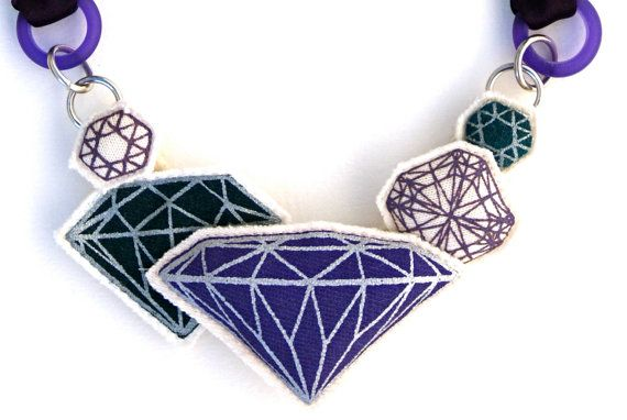 Bling Screen printed and stuffed gem necklace by HITOKOO on Etsy