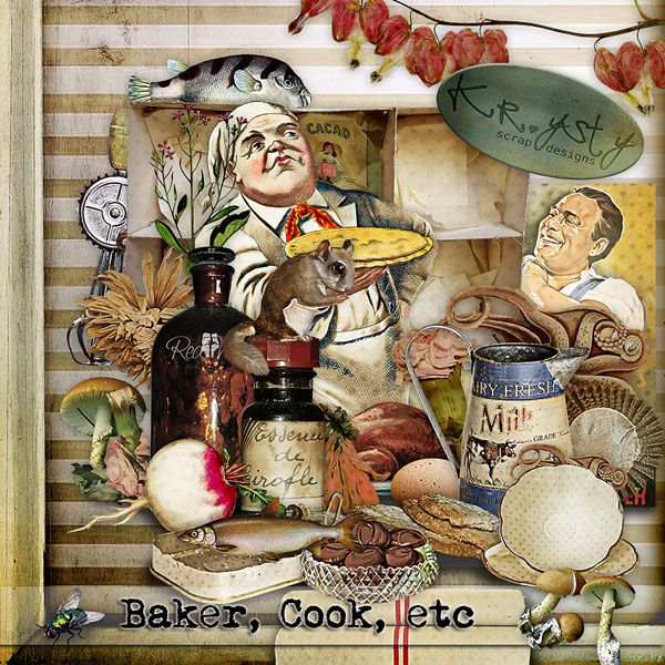 Baker, cook, etc  #digitalcollage #digital #art #photomanipulation #artjournaling #scrapbook #cook #baker # vintage #kitchen
