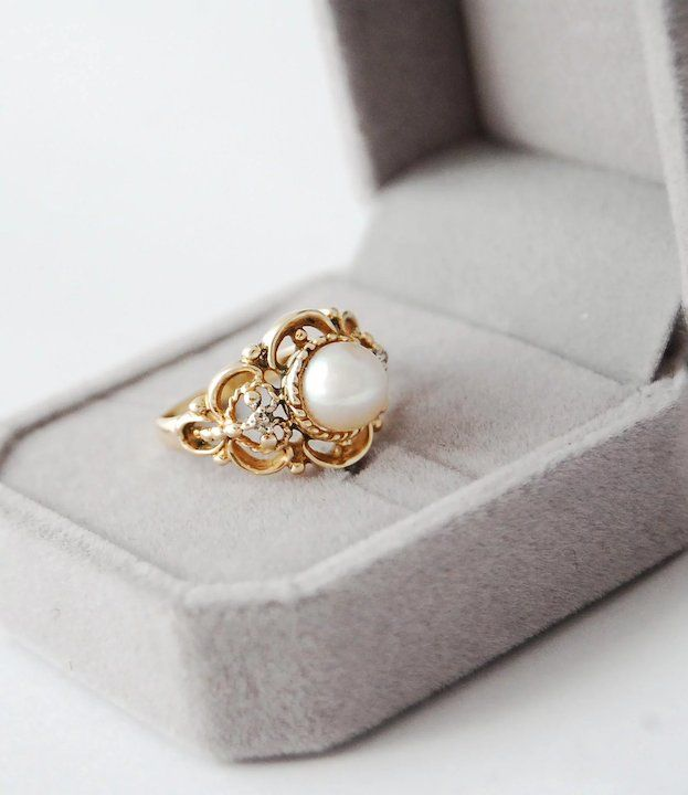 10 Karat Yellow Gold Cultured Pearl Diamond Ring Pearl And Diamond Ring Jewelry Center Jewelry Inspiration