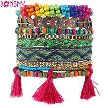Bonsny autunno inverno handmade del braccialetto delle donne di marca bohemien braccialetto del tessuto braccialetti di modo 2016 notizie gioielli per la ragazza(China (Mainland))