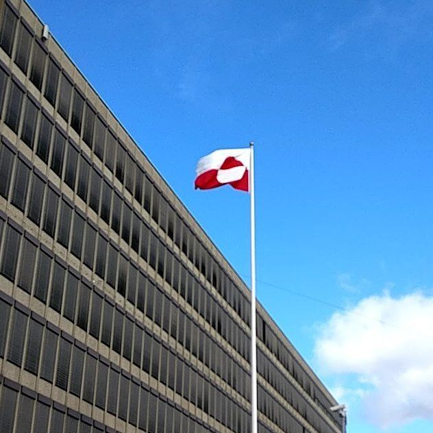 In celebration of Greenland's National day the beautiful #erfalasorput is blowing outside the office building