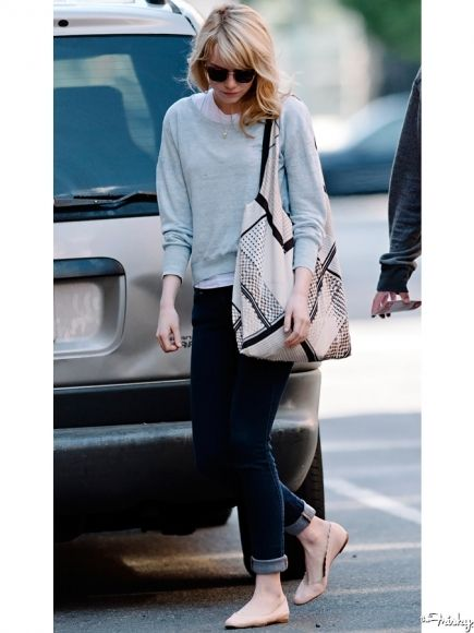 Emma Stone Sweater Top Rolled Up Jeans Flats Layering Because Fashion Pinterest