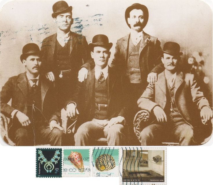 """US-4895988 - Arrived: 2017.09.28   ---   The Wild Bunch - Robert Leroy Parker, better known as Butch Cassidy, was a notorious American train and bank robber, and the leader of a gang of criminal outlaws known as the """"Wild Bunch"""" in the American Old West. Butch  Cassidy (right side sitting), the Sundance Kid (left side sitting ), Ben Kilpatrick (sitting middle), Will Carver (left side standing)"""