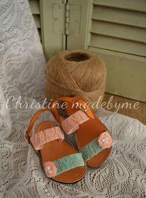 Christine madebyme: Παιδικά δερμάτινα σανδάλια