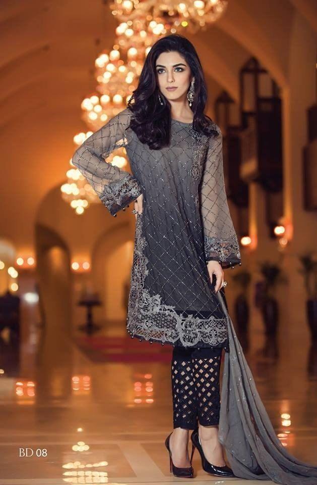 Pakistani Shalwar Kameez, Black/Gray Maria B Chiffon,3 PC Stitched, Indian, Pakistani, Bollywood Salwar Kameez by KaamdaniCouture on Etsy