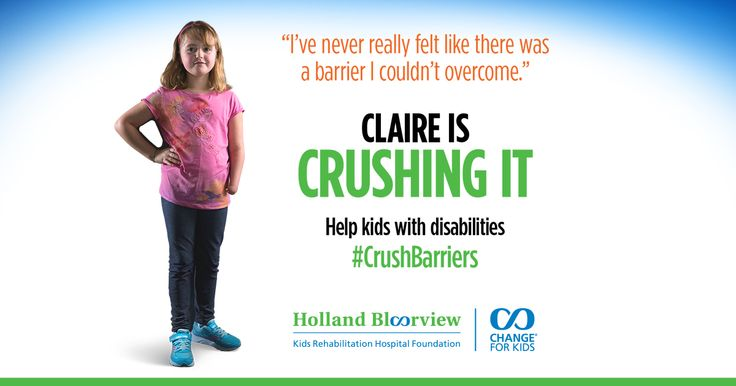 I am proud to help kids with disabilities #CrushBarriers with Holland @Bloorview this year!