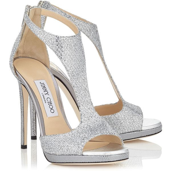 Silver Glitter Fabric T-Bar Sandals LANA 120 (2,895 PEN) ❤ liked on Polyvore featuring shoes, sandals, glitter sandals, silver shoes, t-strap shoes, jimmy choo and silver t strap sandals