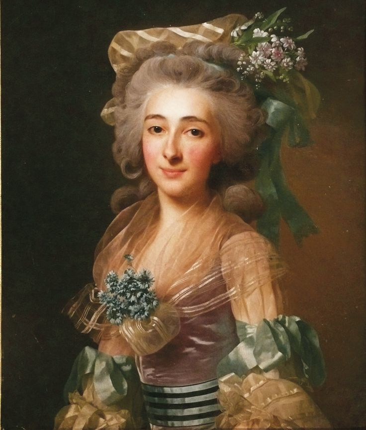 Alexander Roslin (Swedish, 1718–1793), Portrait d'une jeune femme au chapeau fleuri et aux rubans bleus , 1783