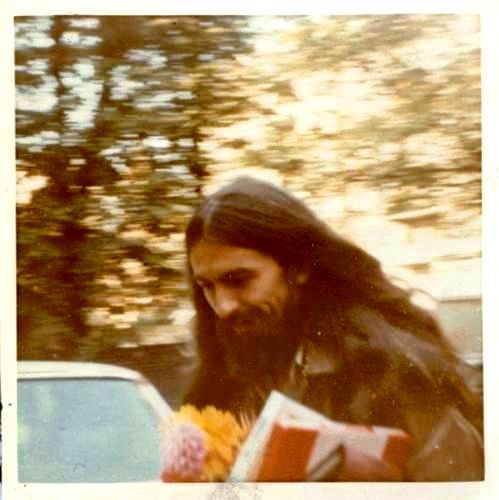 October 9,1970 —George Harrison brings gifts & flowers to John Lennon for his 30th birthday.