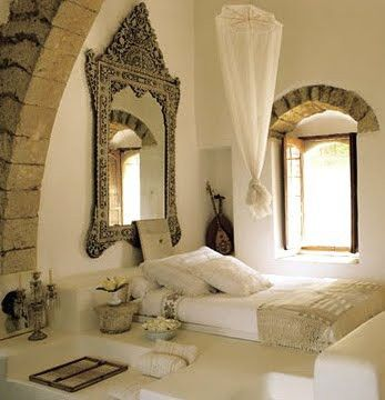 If Im ever too cheap to buy a bedframe, Im going Moroccan ;) I'm almost always too cheap to buy a bed frame. I like this set up