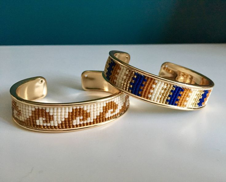 Gold Brass cuff beaded loom bracelet for women- Handmade in Montreal by SamsCharmz on Etsy