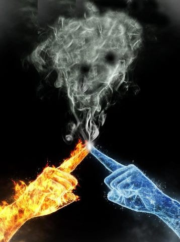 It was their powers-fire and water-that made it like that. When they touched, their powers mixed and created steam. It was a beautiful thing.