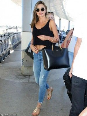 Miranda Kerr Wearing Prada Gold Metallic Leather Thong