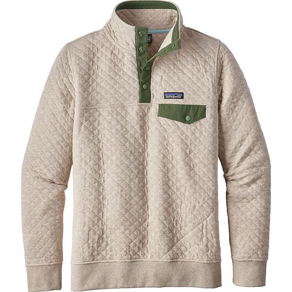 Patagonia Womens Cotton Quilt Snap-T Pullover - S - Birch White -... ($149) ❤ liked on Polyvore featuring tops, white, cotton jersey, white cotton tops, white top, cotton pullovers and white jersey