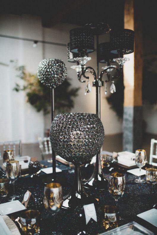 Elegant Wedding Magazine - Blog - Bridal Inspiration - Heavy Metal Theme - Table Setting - Black