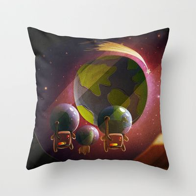 Happiness Near The Pink Planet (Leaving The World) III Throw Pillow by MikiMikibo - $20.00