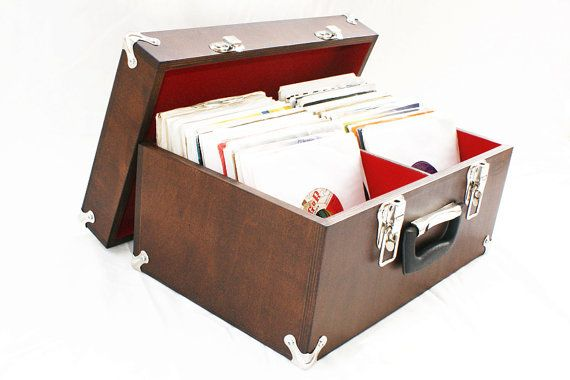 Wooden Record Case Box Up To 220 45s Vinyl Amp Record