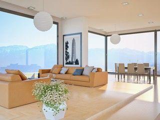 Grosses Wohnzimmer mit Sicht auf Berge