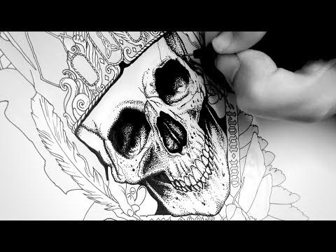 Drawing a skull tattoo design with ink time lapse tys gothic tattoo youtube