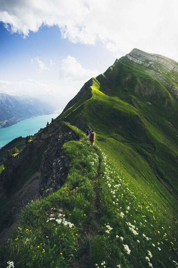 Beautiful Path : by Rodrigo Carabajal : Aelgau, Canton of Berne, Switzerland: The highest line between Brienzer Rothorn and Interlaken. The most beautiful landscape I´ve ever walked along. The mountains are beautifully green, the lake is turquoise blue and far behind there's still snow at the top of the Eiger, Mönch and Jüngfrau.