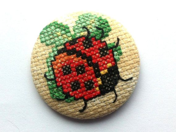 Brooch Ladybug Lucky Clover  Cross Stitch  Unique  by COSIMITAS