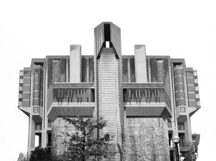 """""""raw concrete"""" aka brutalist-text-mode architecture. Robarts Library at University of Toronto (1973)."""