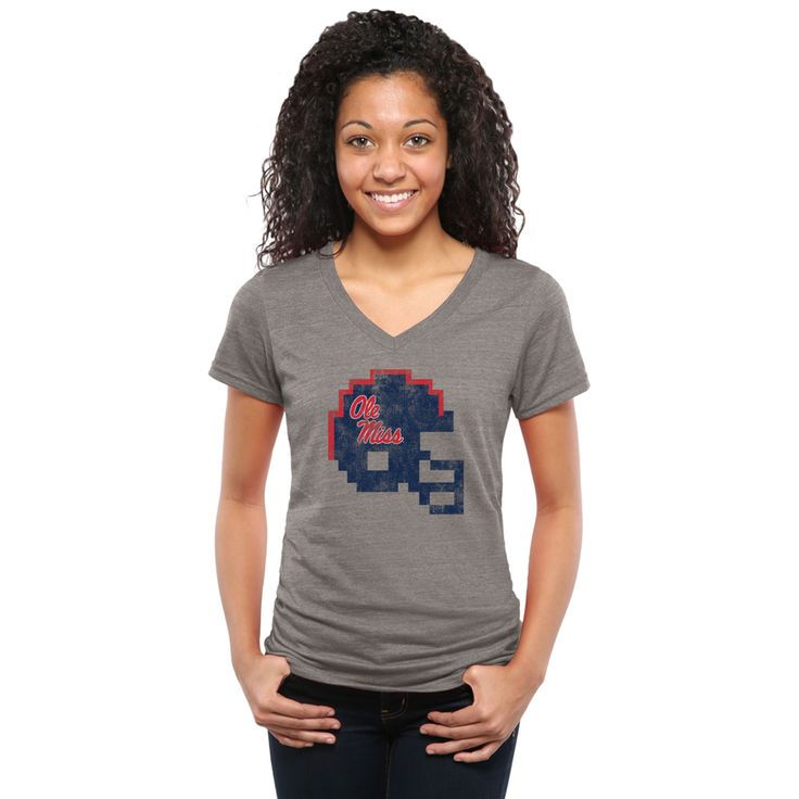 Ole Miss Rebels Women's 8-Bit Football Tri-Blend V-Neck T-Shirt - Ash - $24.99