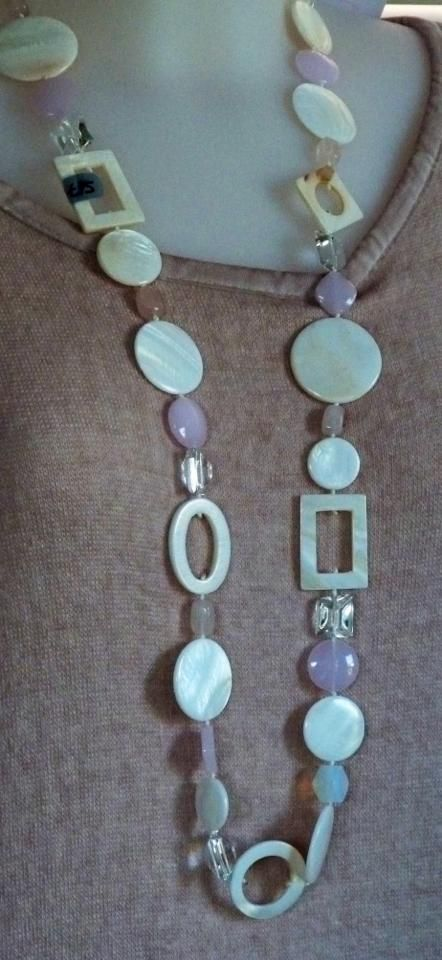 Lilac and Ivory long necklace