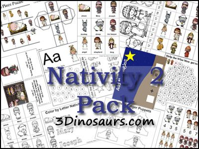 Free Nativity Printables Pack and Nativity Craft Ideas from 3Dinosaurs.com