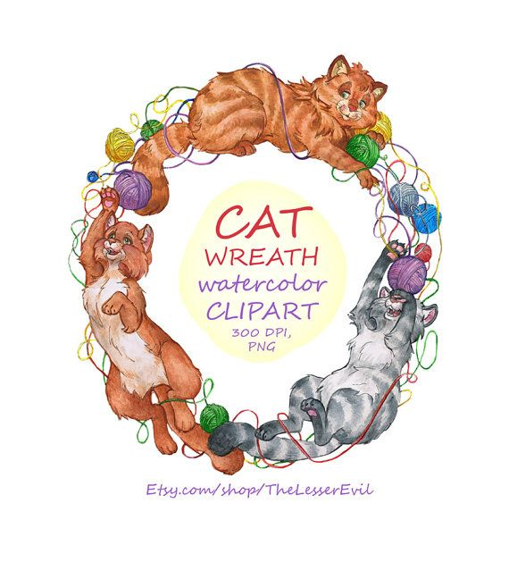 Cat Wreath Clipart Digital Watercolor by TheLesserEvil on Etsy