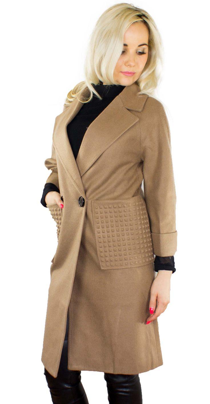 Trendiger Damen Herbstmantel Farbe: Beige Außenmaterial: 80% Polyamid 20% Wolle