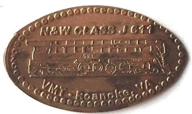 Elongated Penny Coin - N&W CLASS J611 Virginia Museum of Transportation - VA